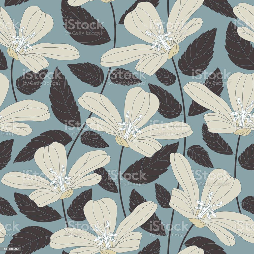 retro flowers vector art illustration