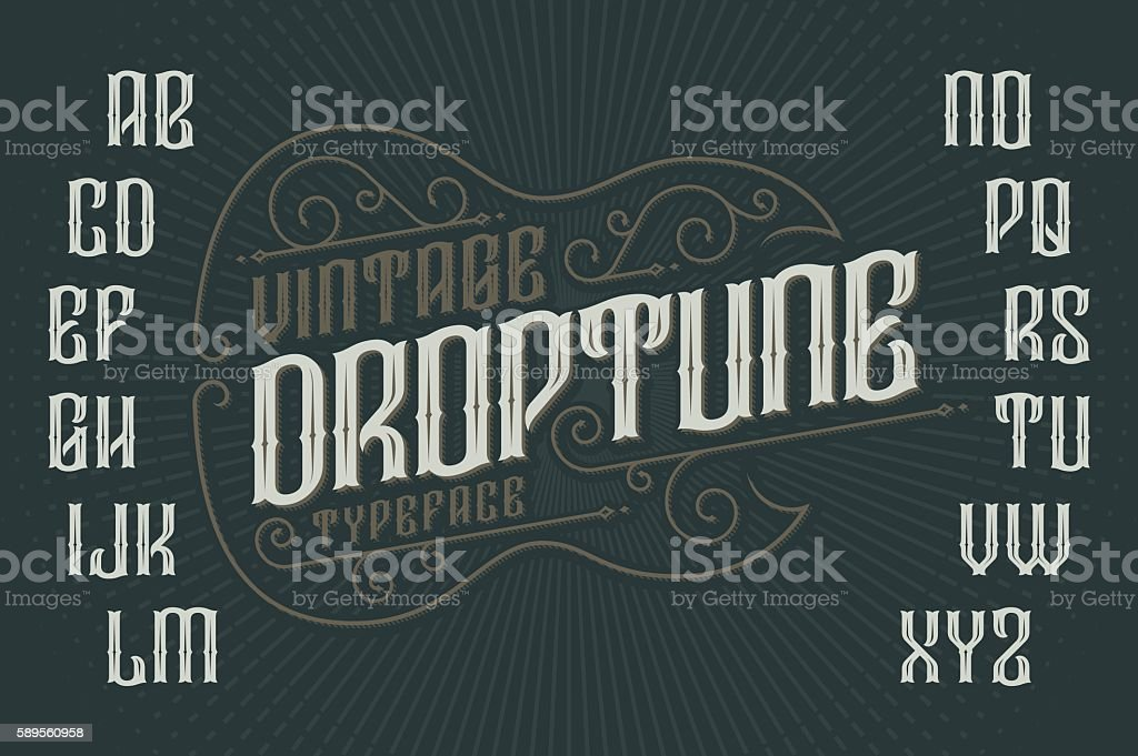 Retro font with decorative frame in shape of gothic guitar vector art illustration