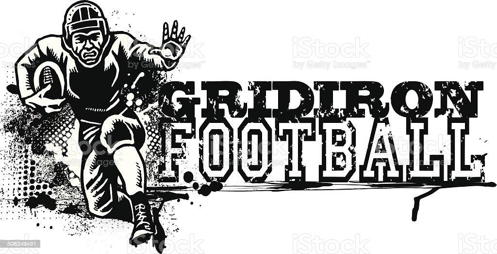 Retro Football Graphic - Gridiron vector art illustration