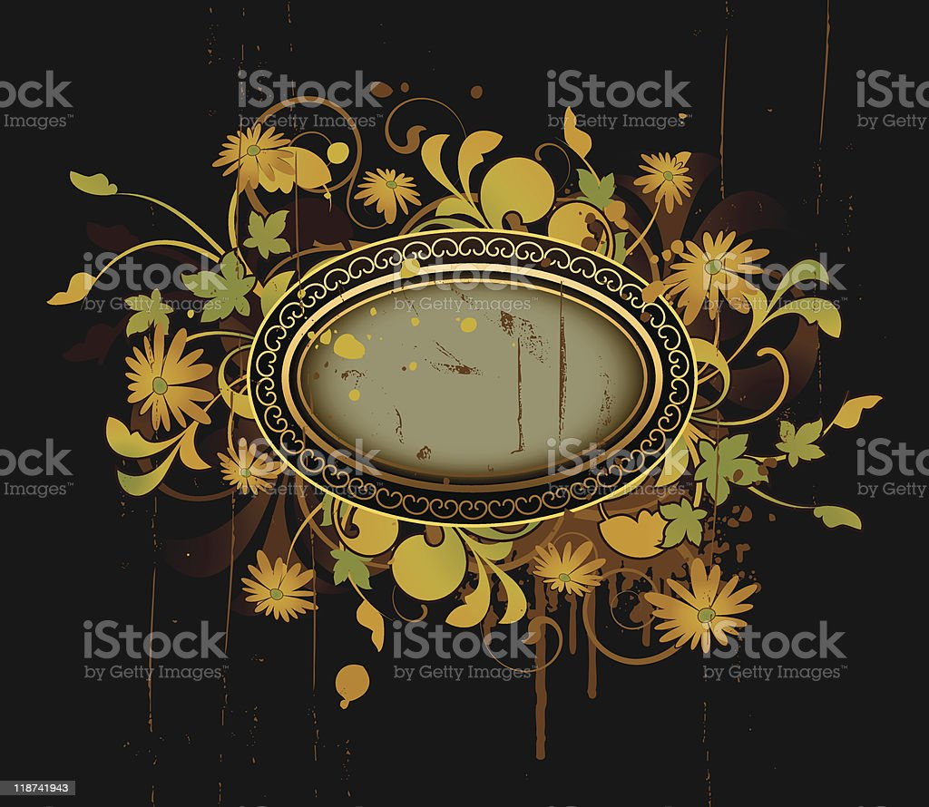 Retro frame with floral elements royalty-free stock vector art