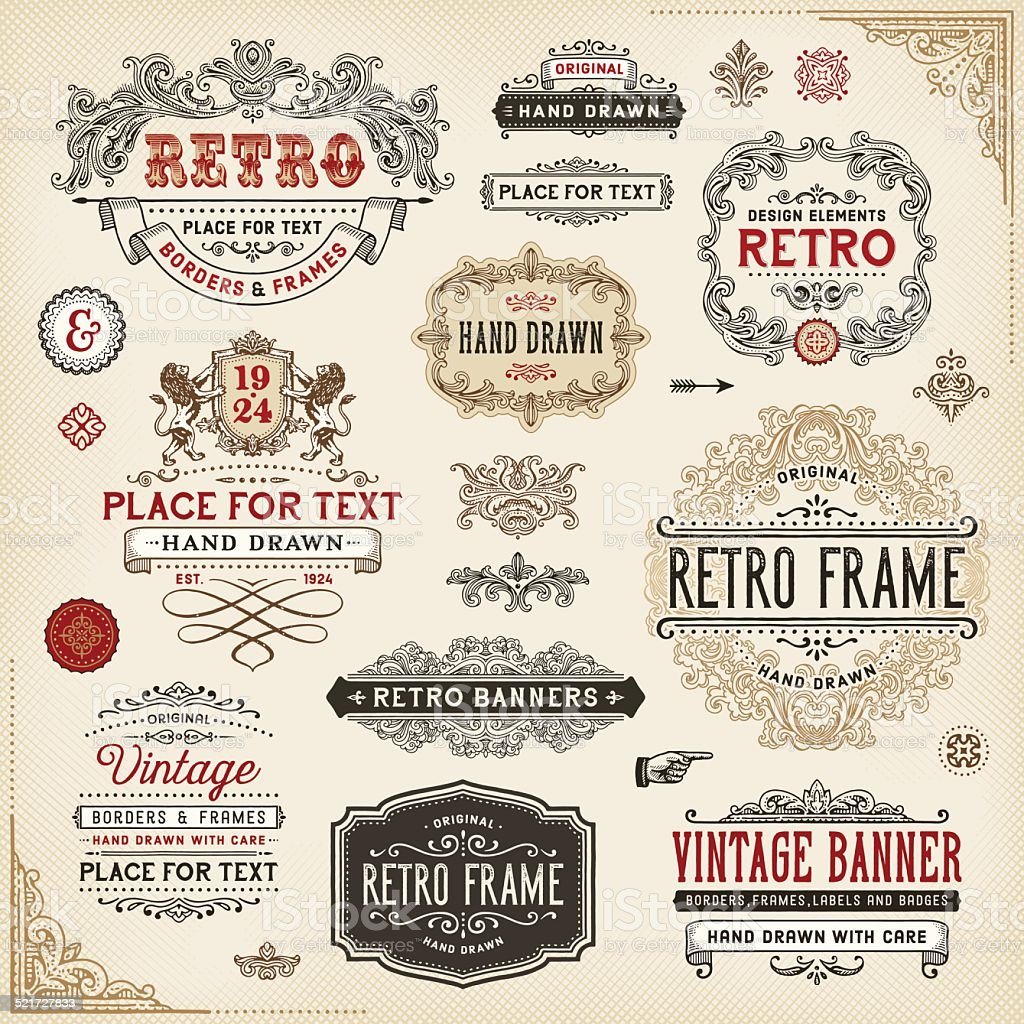 Retro Frames,Labels and Badges vector art illustration