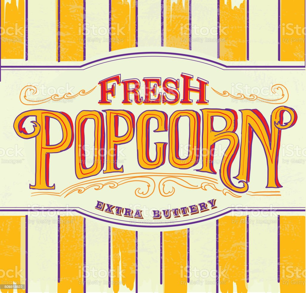 Retro Fresh popcorn hand lettered sign design vector art illustration