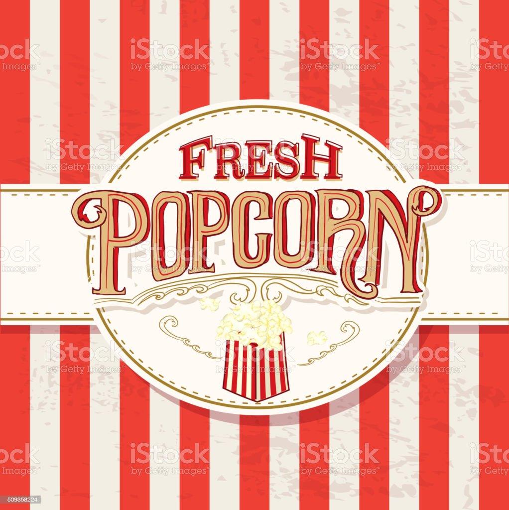 Frisches Popcorn Retrodesign Hand Schriftzugschild Vektor ...
