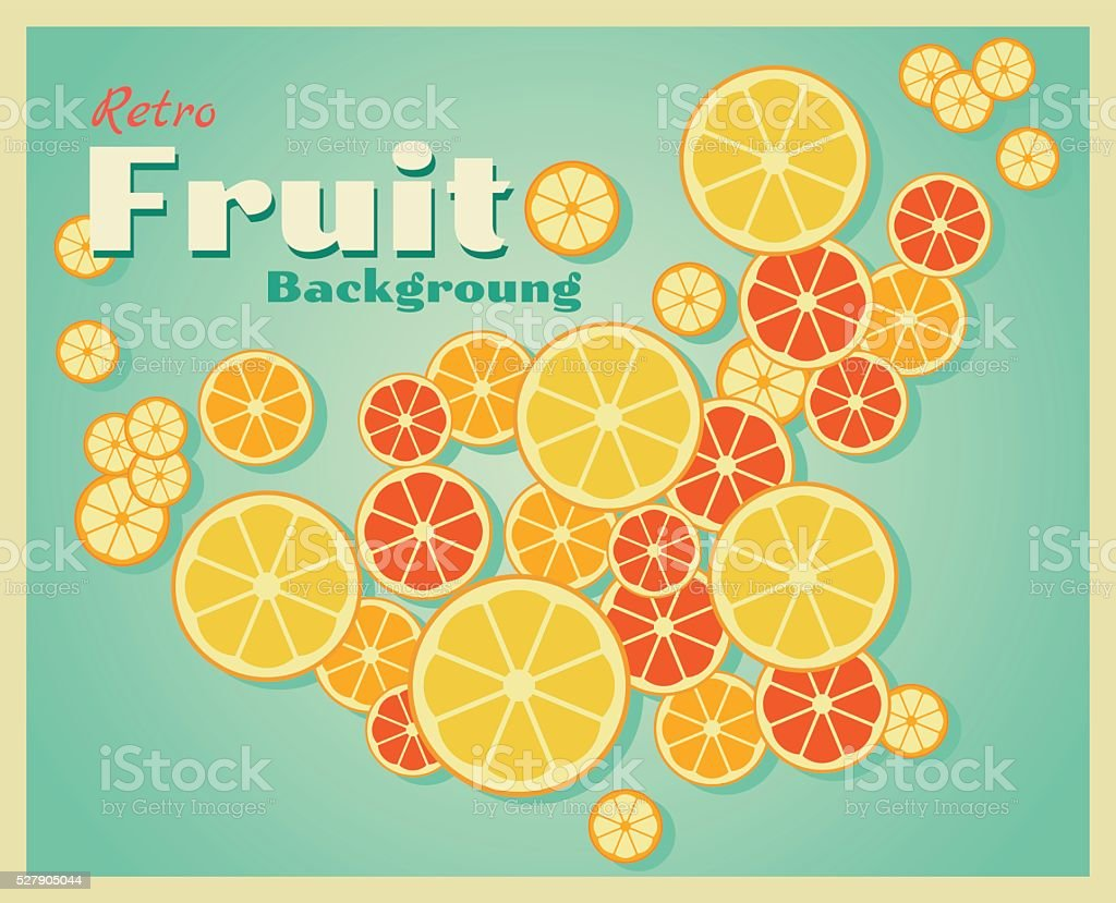 Retro fruit background with oranges vector art illustration