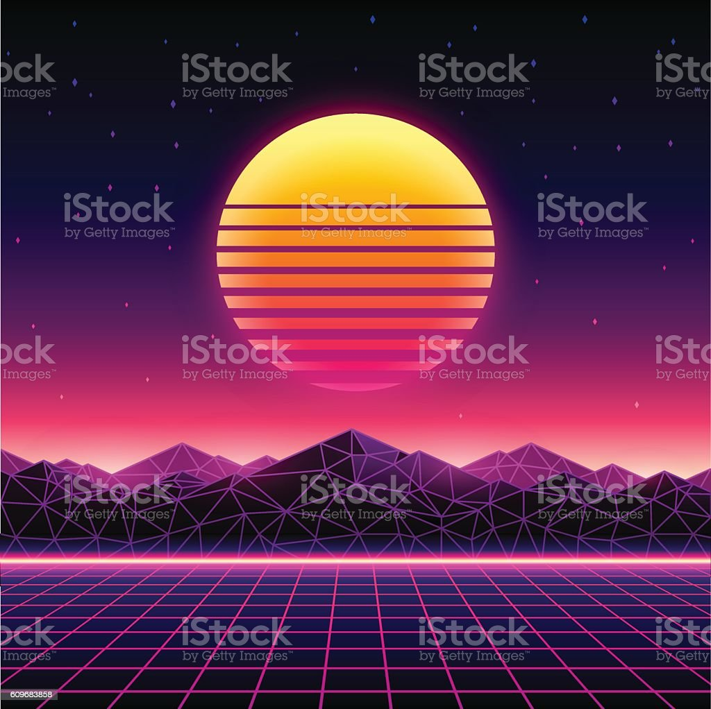 Retro futuristic background 1980s style. Digital landscape vector art illustration