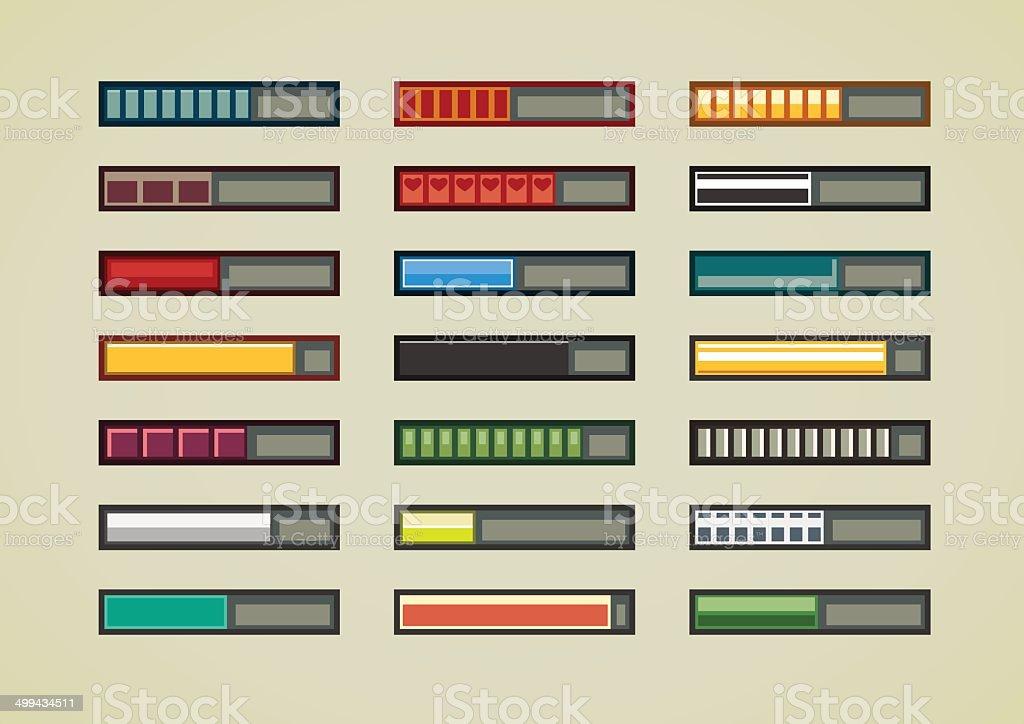 Retro game progress bars vector art illustration