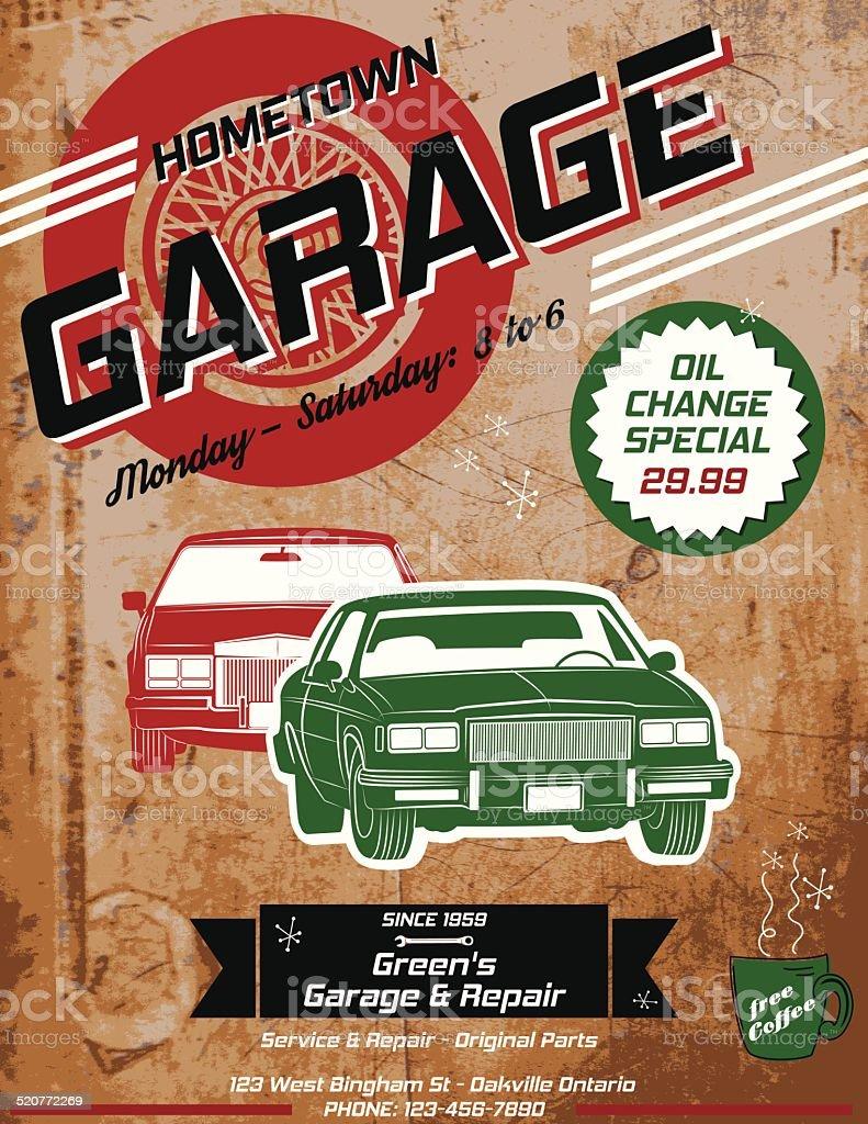 Retro Garage Automotive Poster or Sign vector art illustration