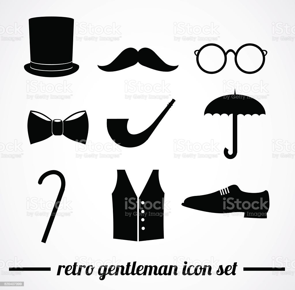 Retro gentleman accessories. vector art illustration