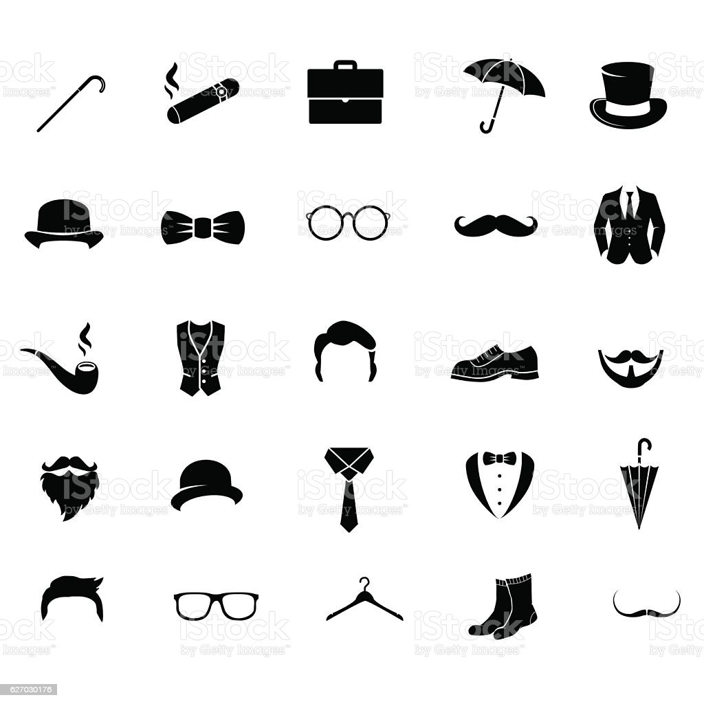 Retro gentleman icon set. vector art illustration
