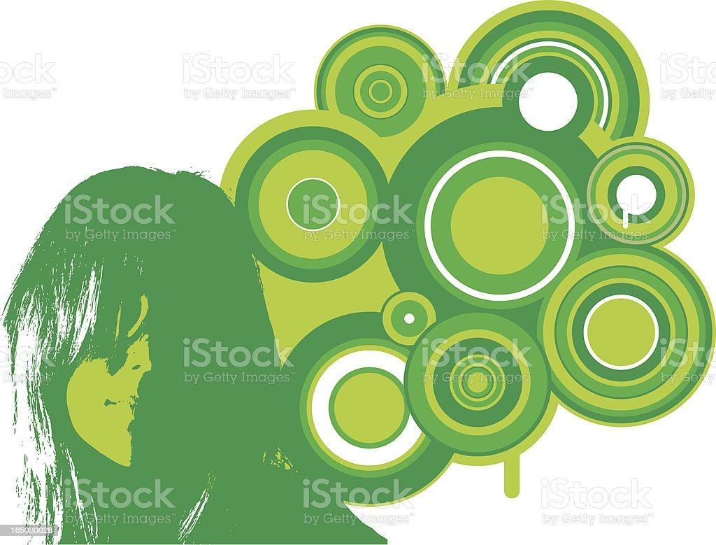 Retro Girl: Green royalty-free stock vector art