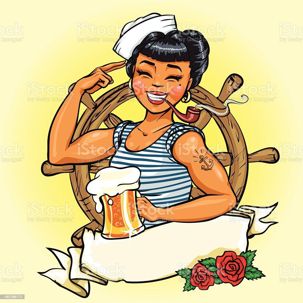 Retro Girl logo design, Vector Pin Up  Illustration vector art illustration