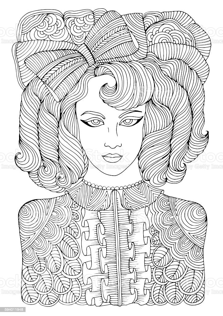 Retro girl with curly locks and large bow Coloring book vector art illustration