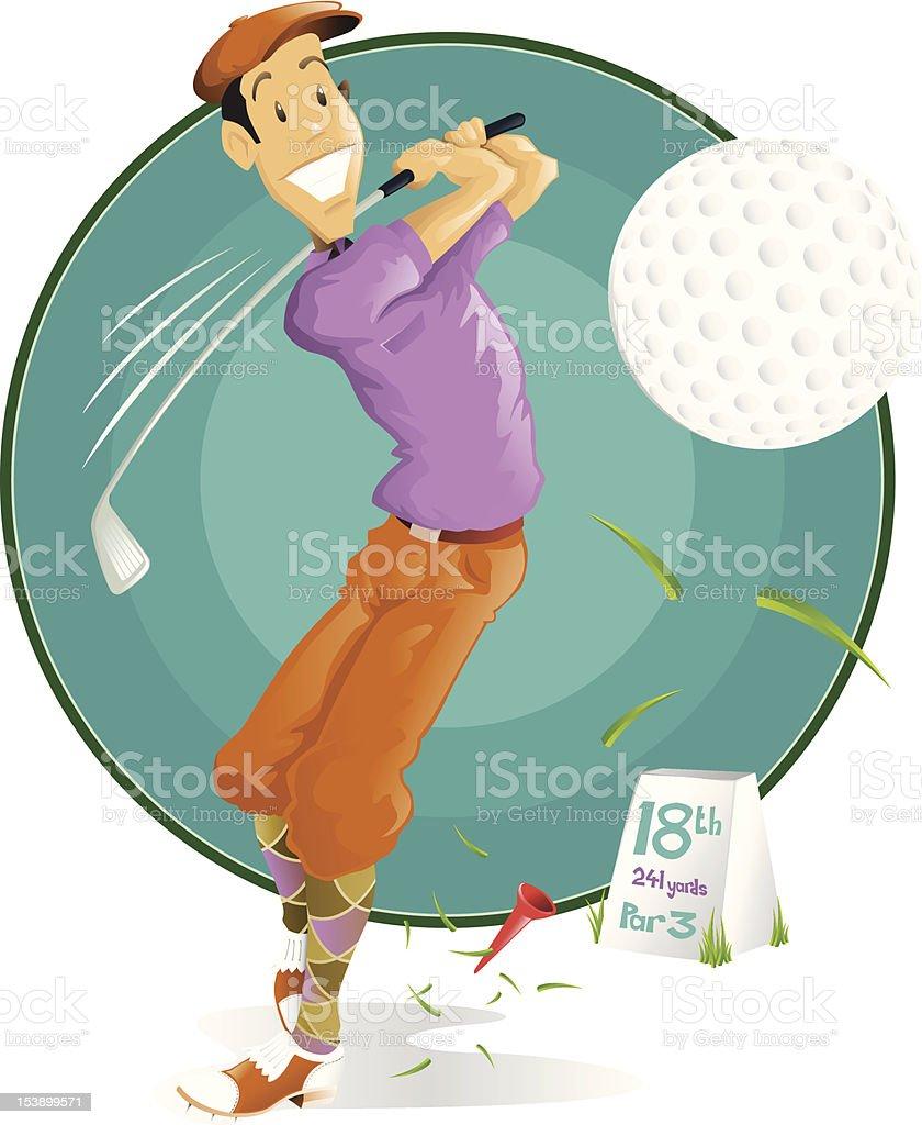 Retro Golf Player royalty-free stock vector art