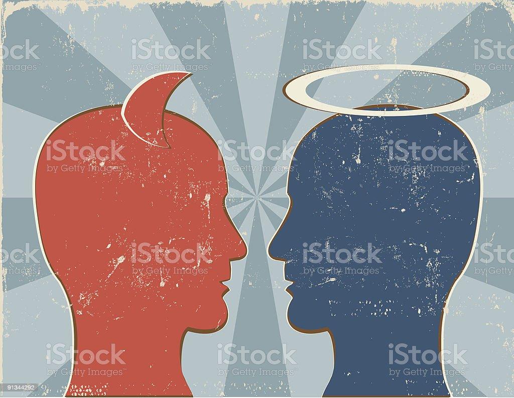 Retro Good vs. Evil Human Profiles vector art illustration