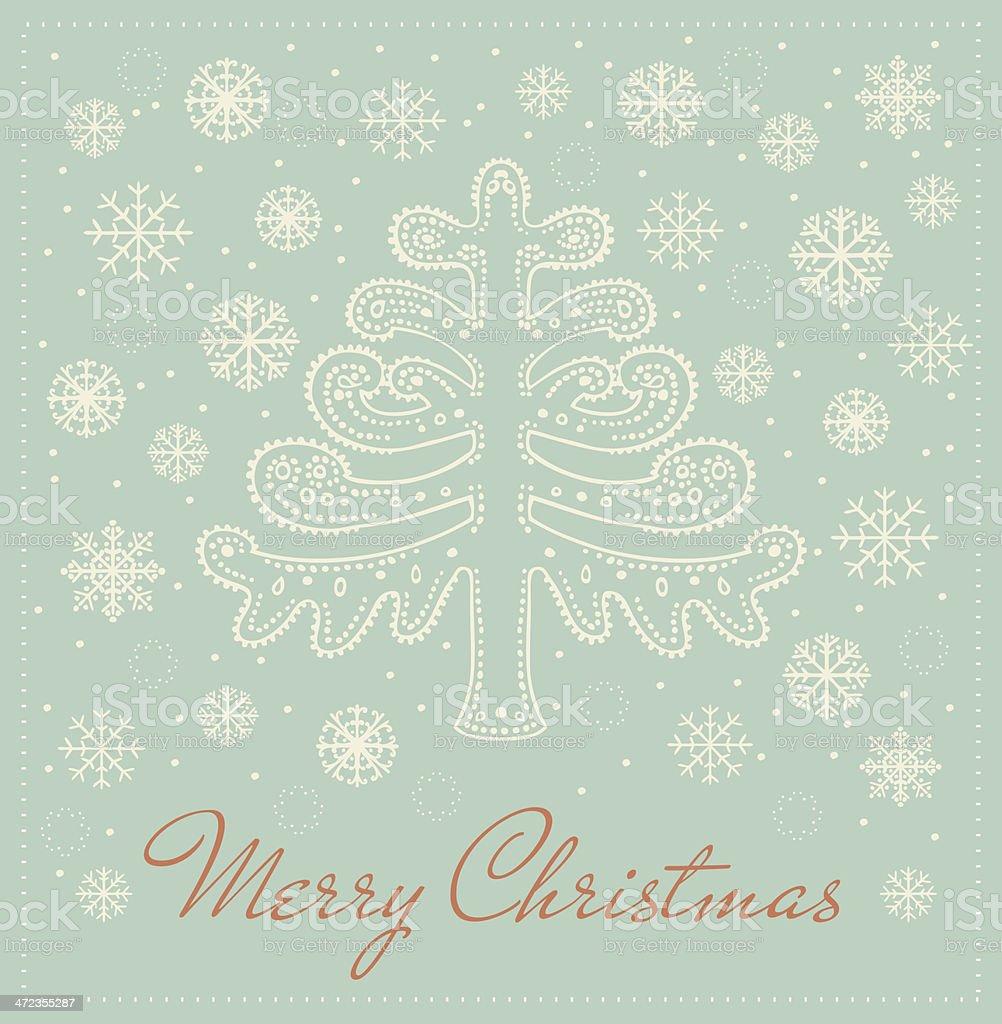 Retro greeting card with decorative ornamental fantasy fir tree royalty-free stock vector art