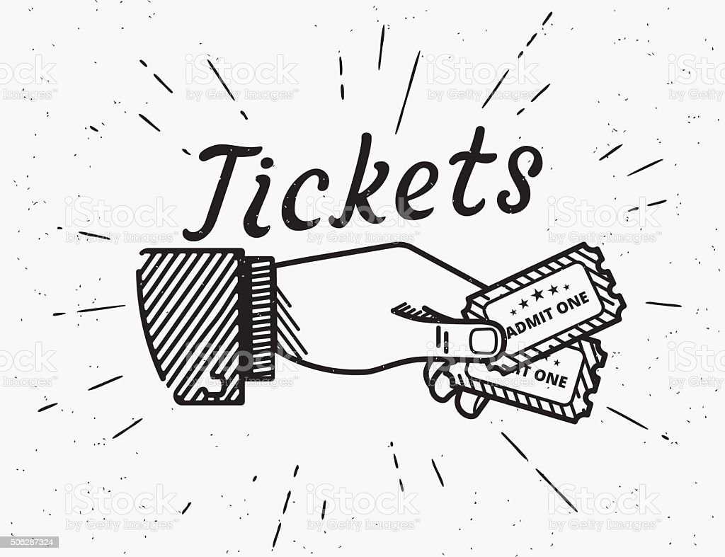 Retro grunge illustration of human hand with two tickets vector art illustration