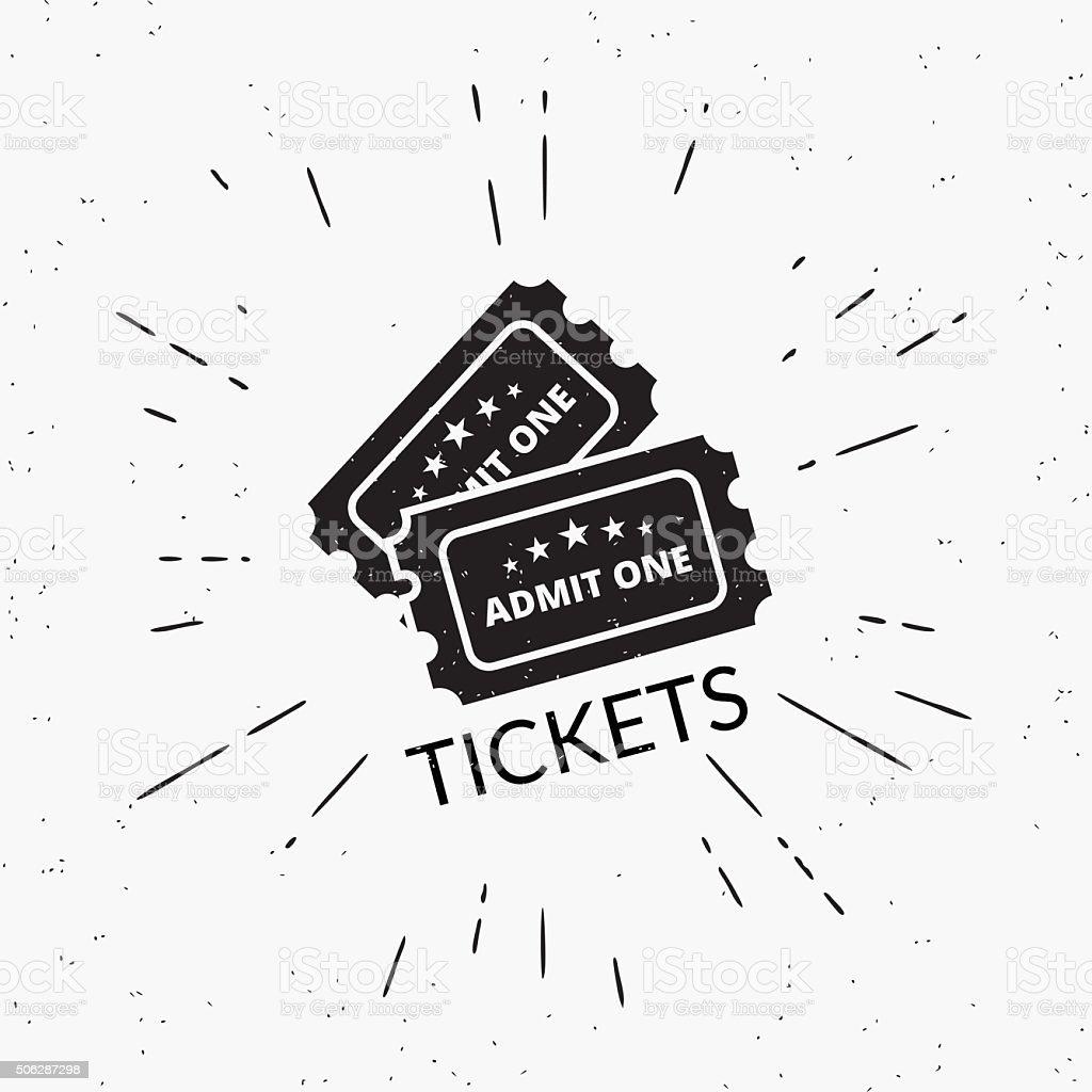 Retro grunge illustration of two black tickets vector art illustration