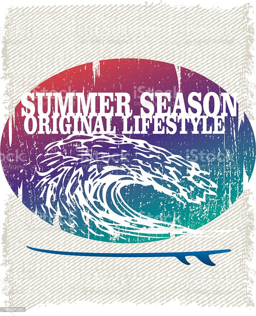 retro grunge surf poster with pipeline wave vector art illustration