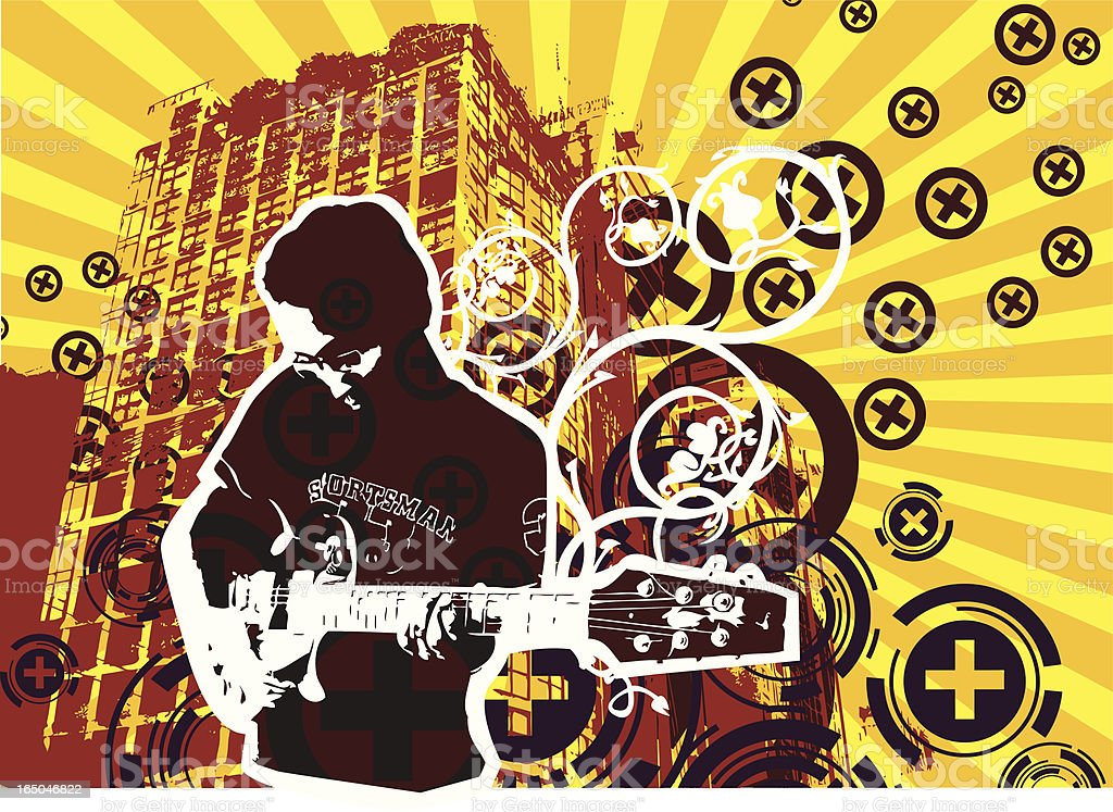 Retro guitarist royalty-free stock vector art