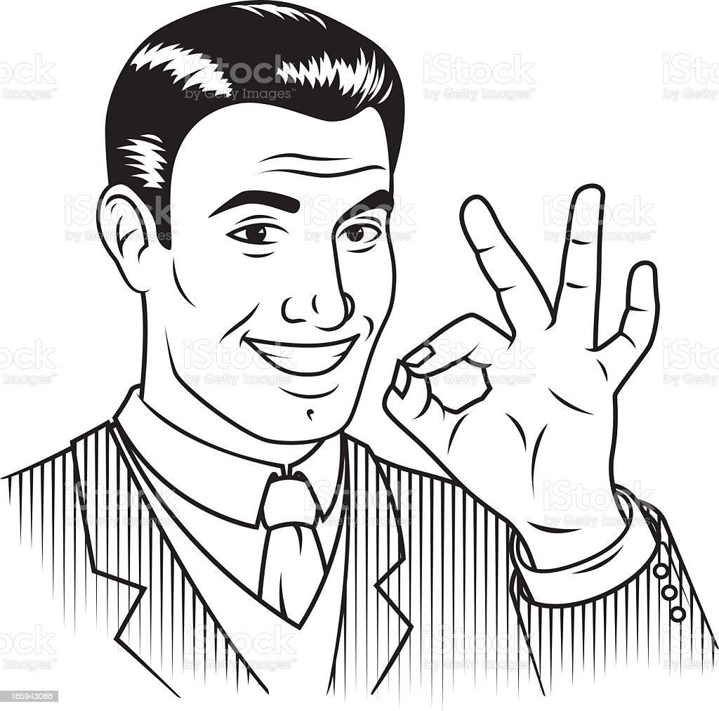 Retro Guy Giving 'OK' Sign vector art illustration