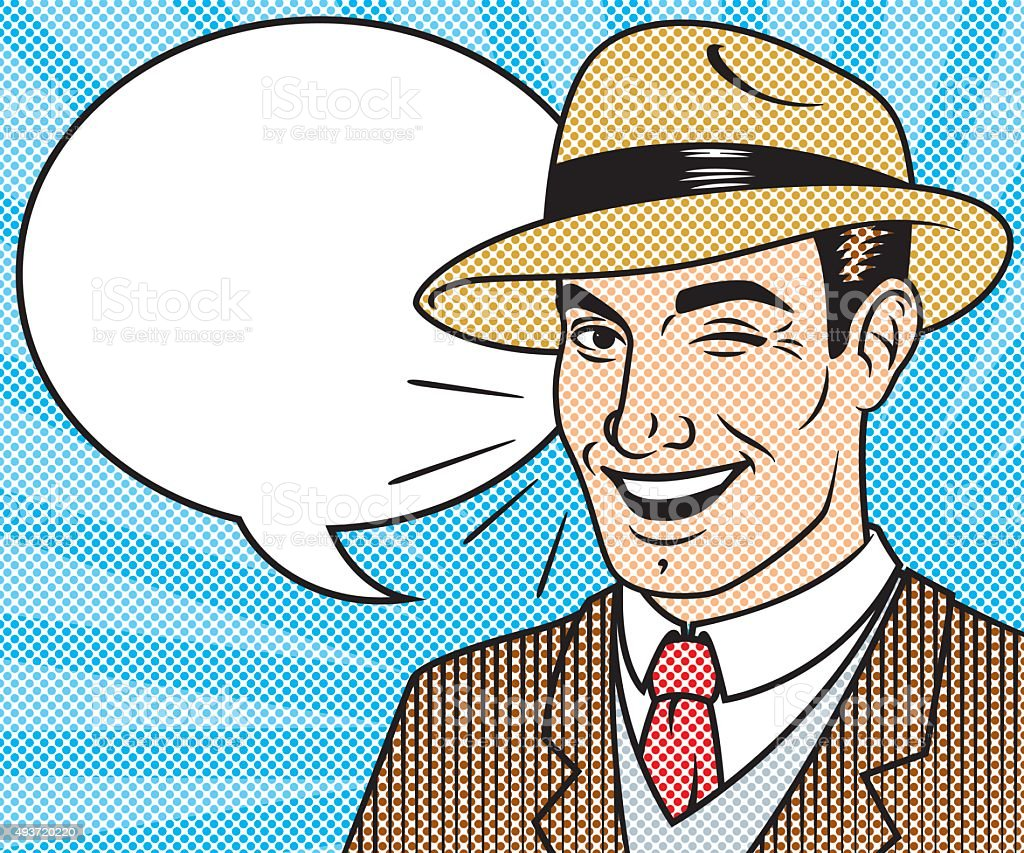 Retro Halftone Comic Book Character with Speech Bubble vector art illustration