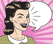 Retro Halftone Comic Book Character with Speech Bubble