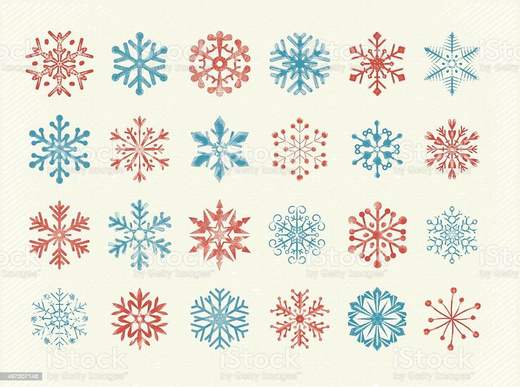 Retro Hand Drawn Snowflakes vector art illustration