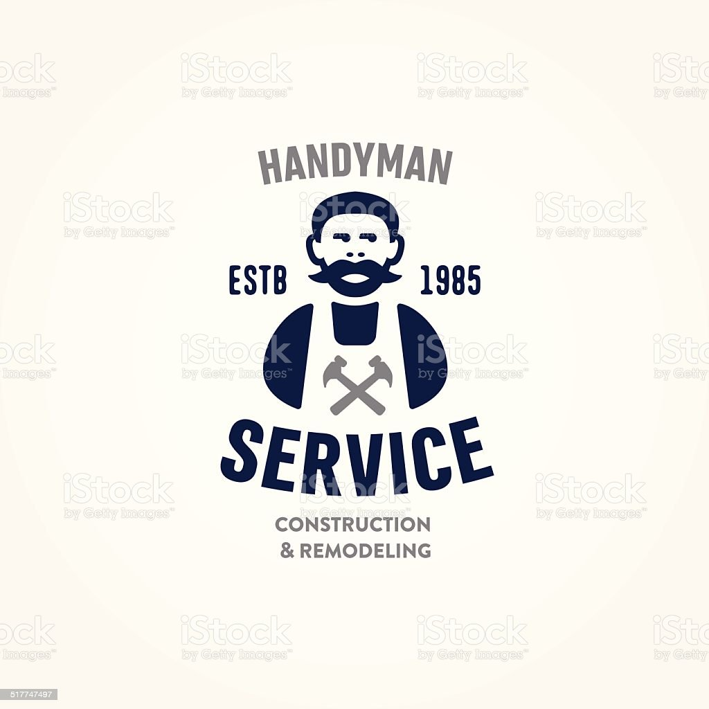 Retro Handyman carpenter corporate service badge symbol vector art illustration