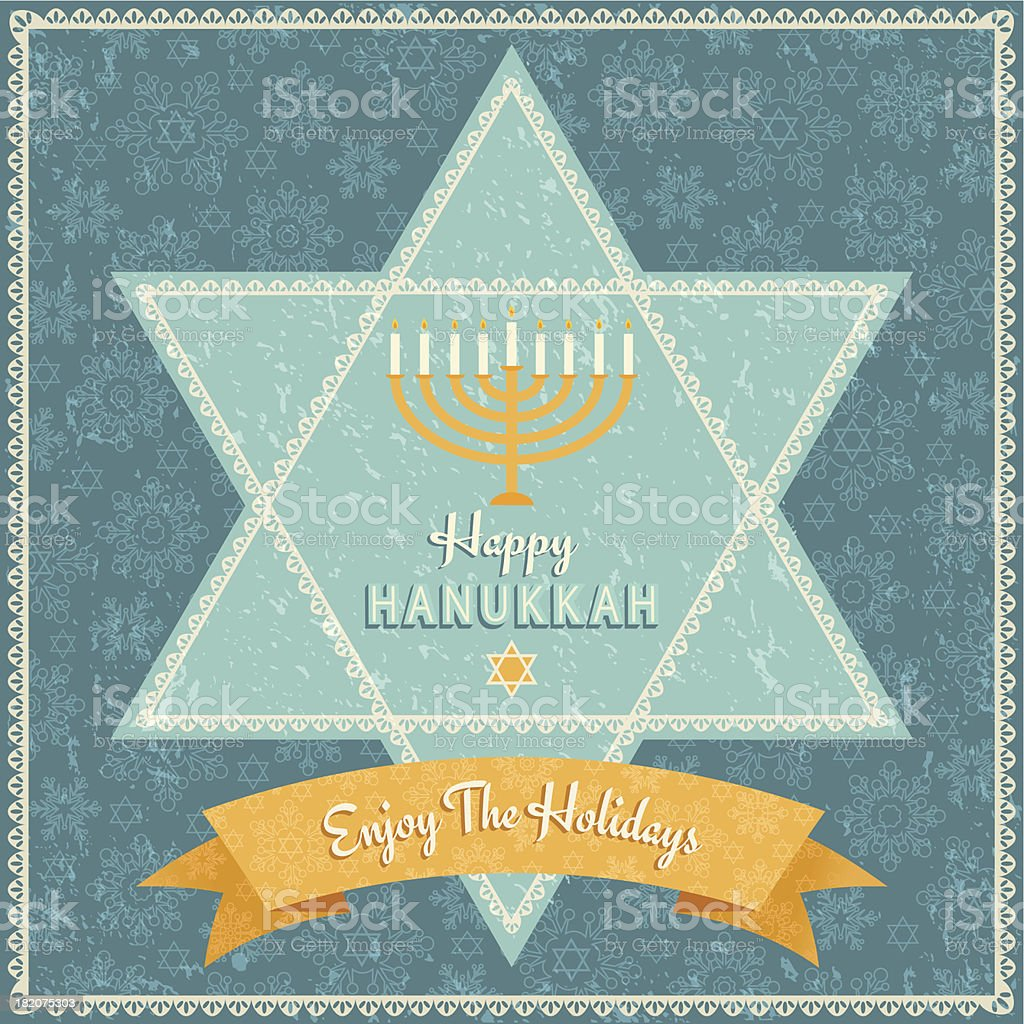 Retro Hanukkah Celebration Card vector art illustration
