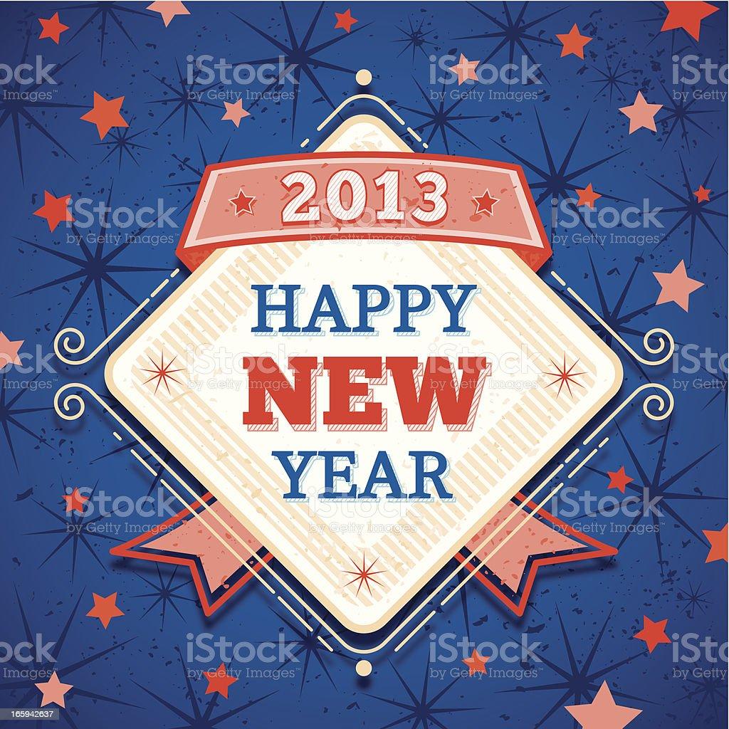 Retro Happy New 2013 Year Label royalty-free stock vector art