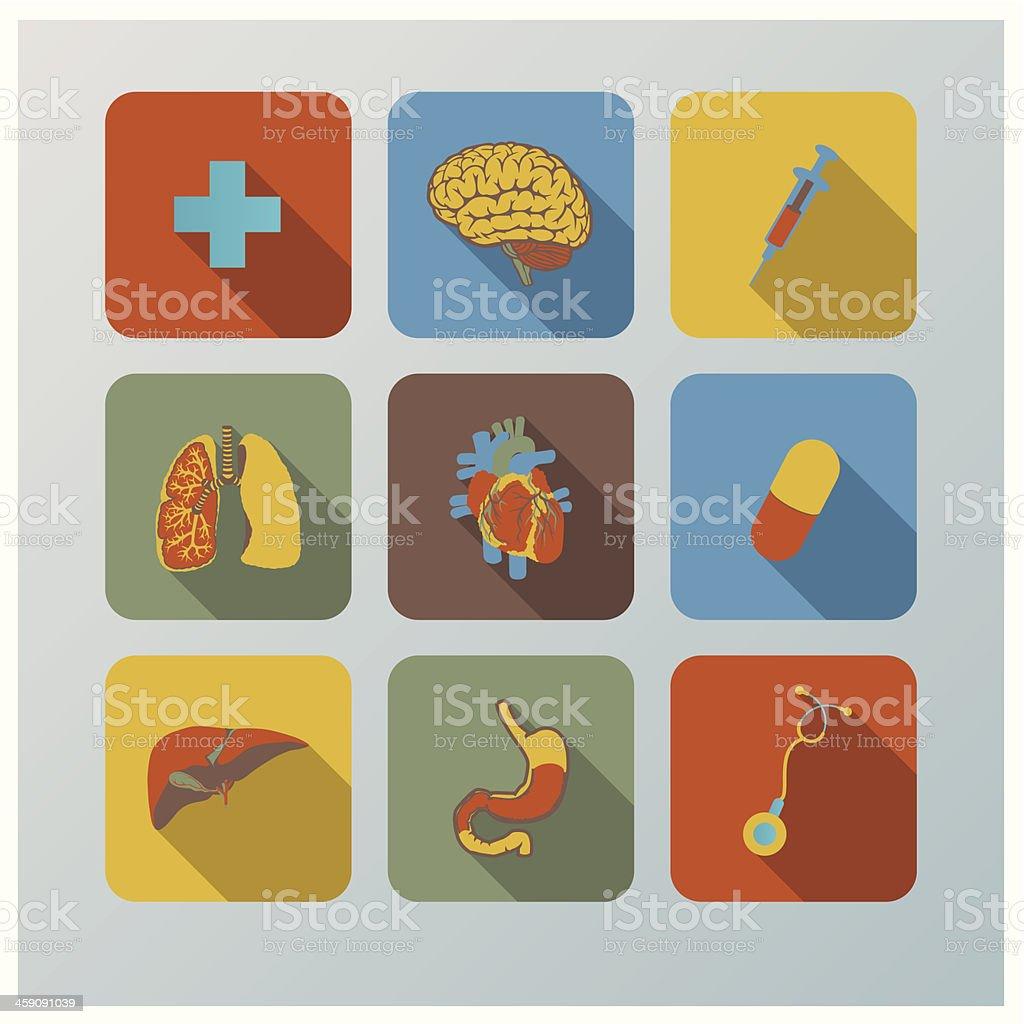 Retro Health And Organ Flat Icons Set vector art illustration