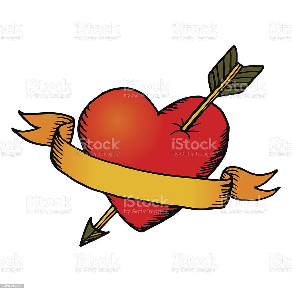 Retro heart with ribbon vector art illustration