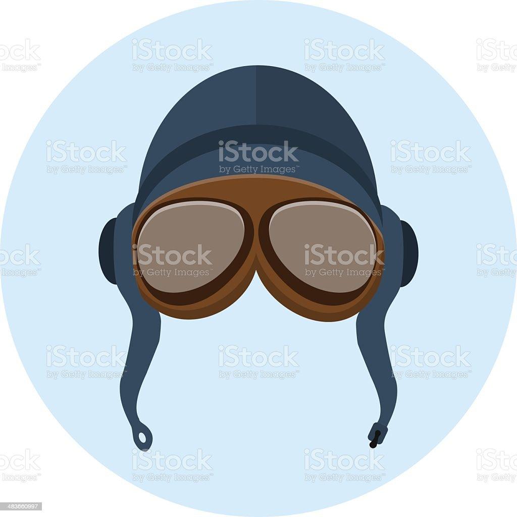Retro helmet and goggles vector art illustration