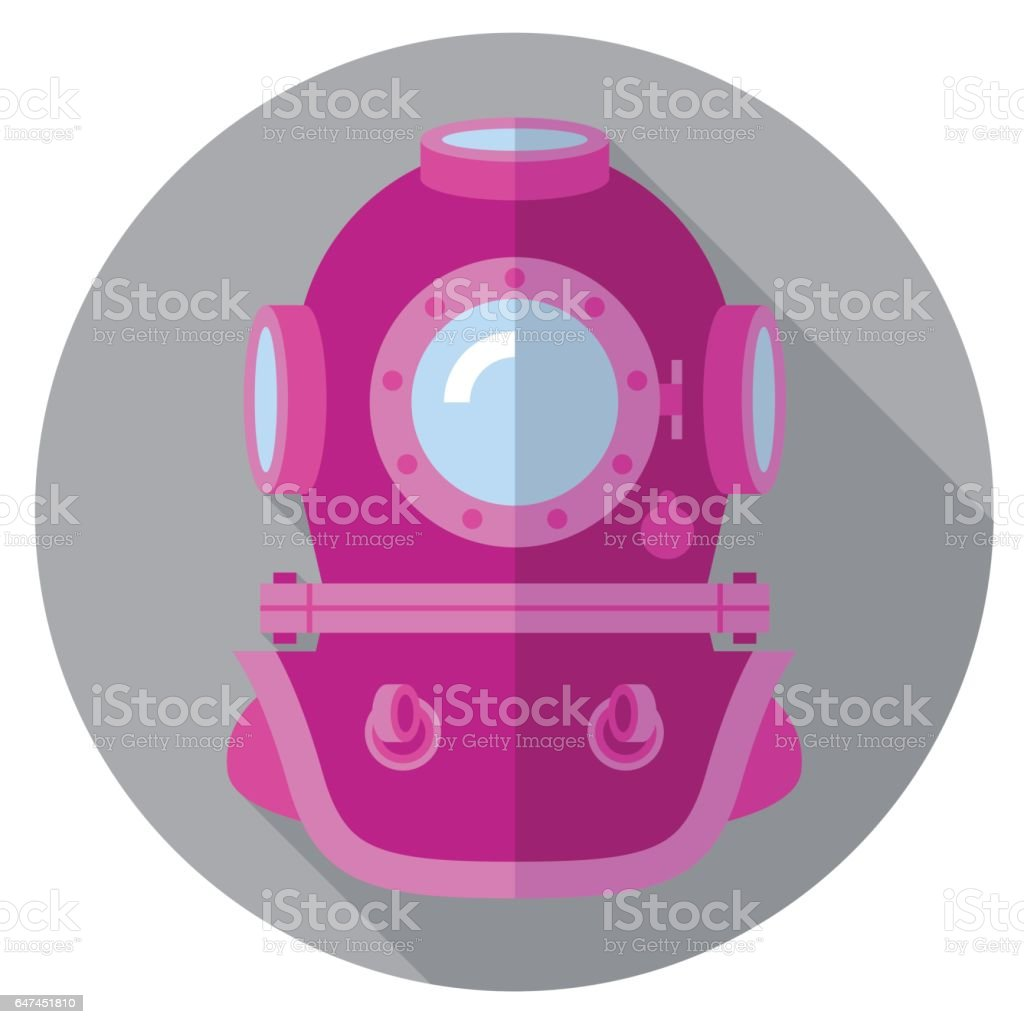 Retro helmet flat icon vector art illustration