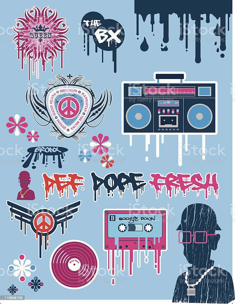 Retro Hiphop Icons royalty-free stock vector art