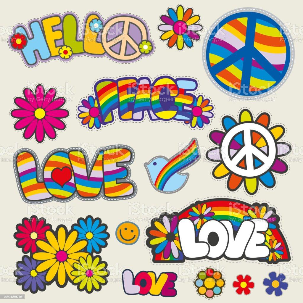 Retro hippie patches vector emblems vector art illustration
