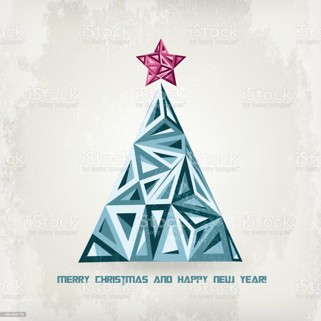 Retro hipster Christmas tree royalty-free stock vector art