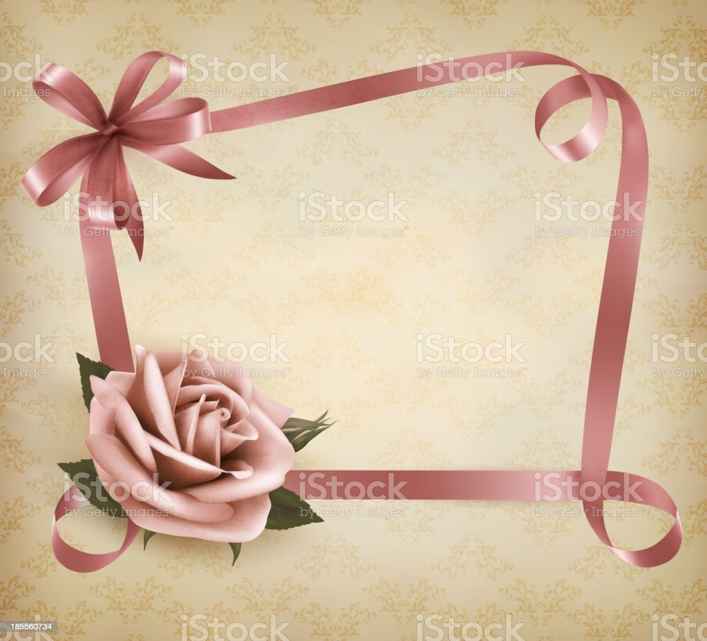 Retro holiday background with pink rose and ribbons. Vector illustration. royalty-free stock vector art
