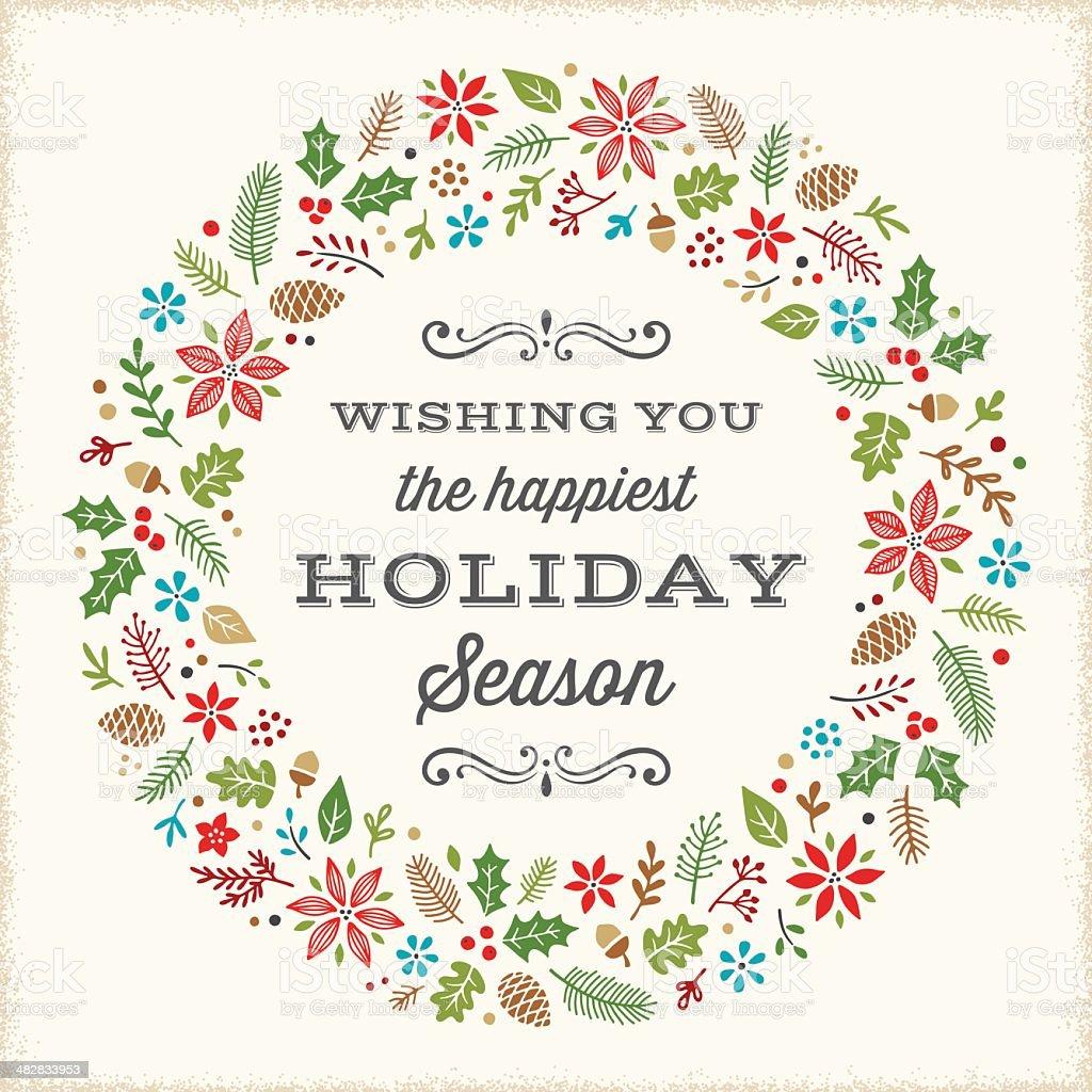 Retro Holiday Card vector art illustration