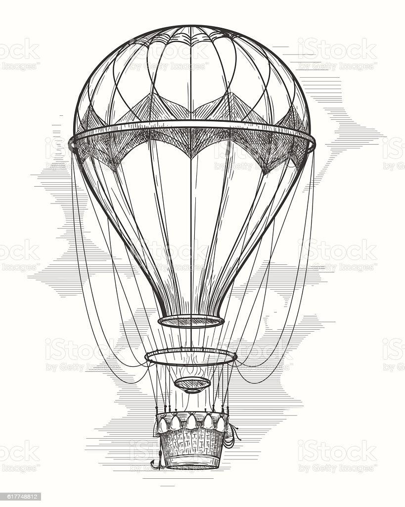 Retro hot air balloon sketch vector art illustration
