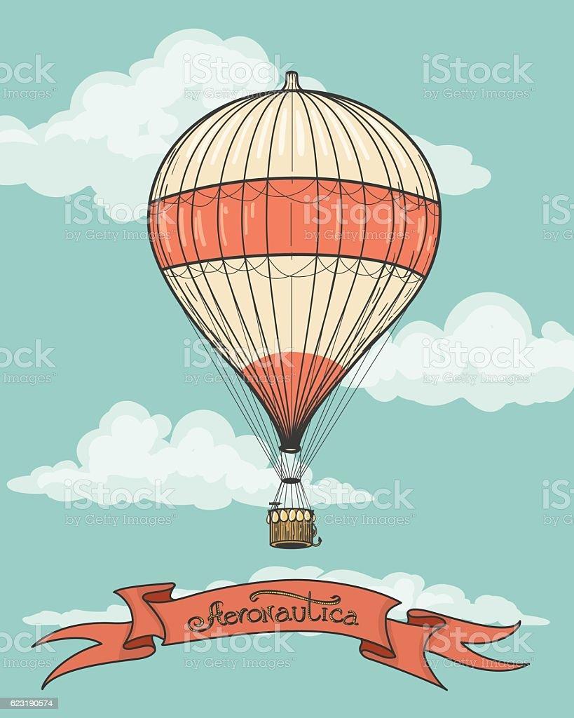 Retro hot air balloon with ribbon vector art illustration