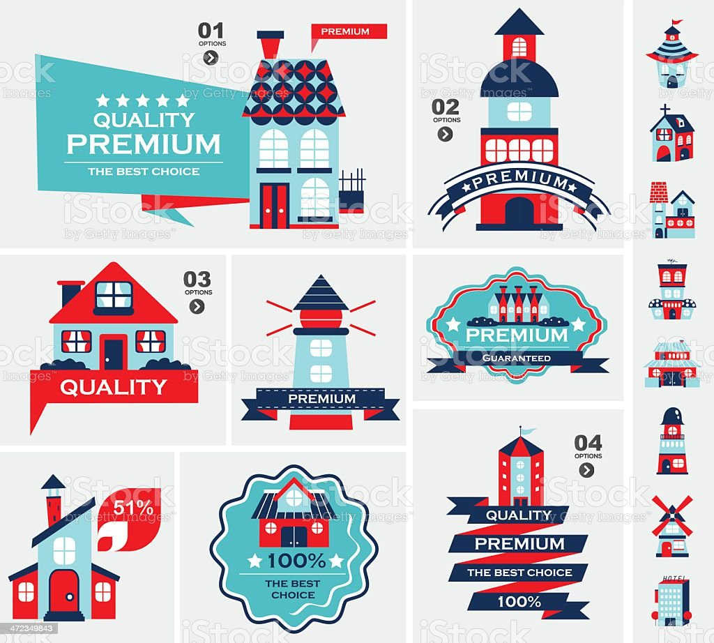 Retro house label set royalty-free stock vector art