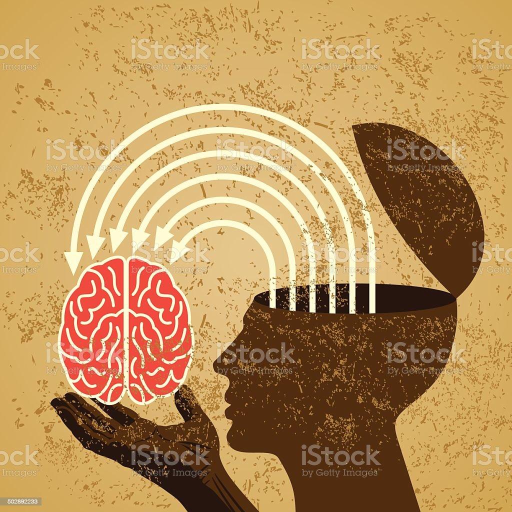 retro idea with human brain vector art illustration
