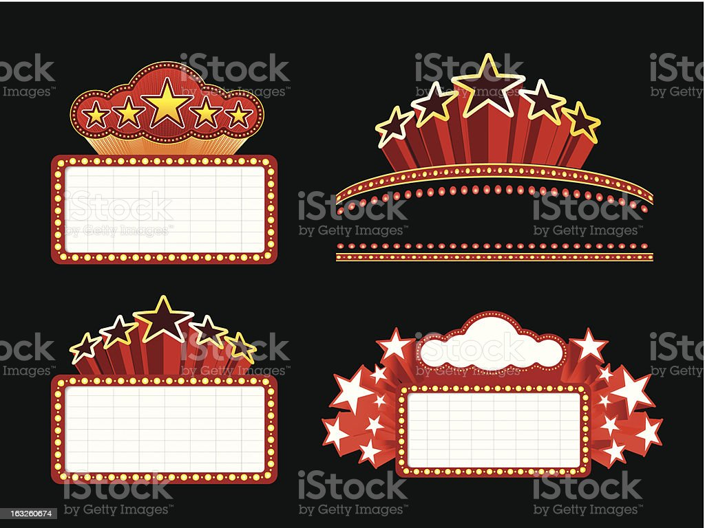 Retro illuminated Movie marquee Blank sign vector art illustration