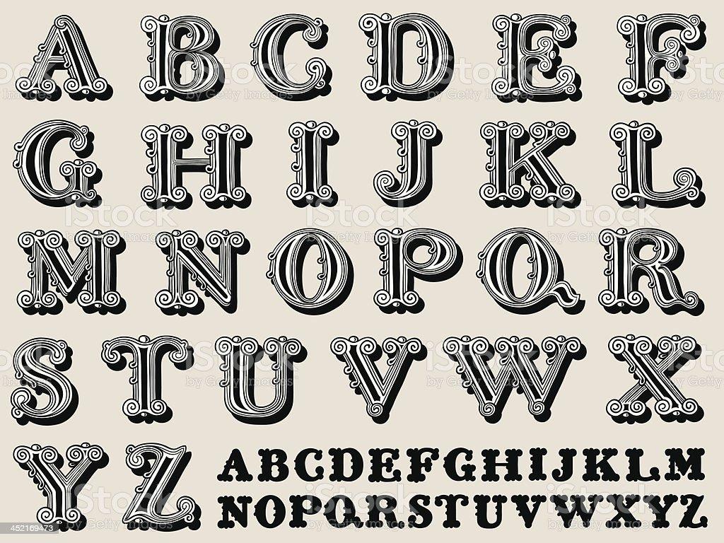 Retro illustration of a complete antiqua alphabet royalty-free stock vector art