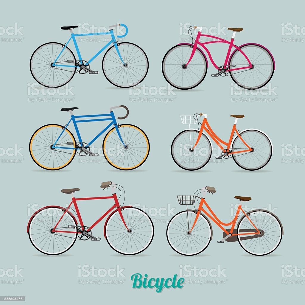 Retro Illustration Vector Bicycle vector art illustration