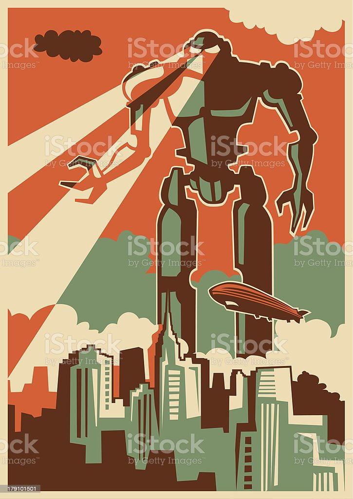retro illustration with giant robot stock vector art