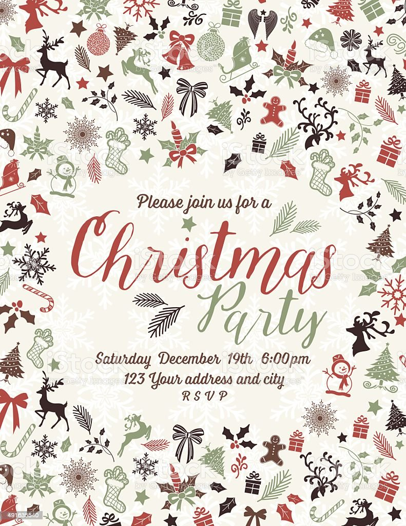Retro Inspired Christmas Party Invitation Template vector art illustration
