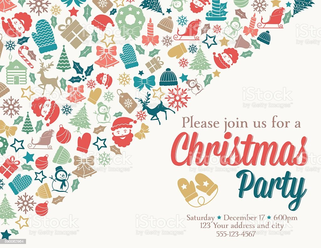 retro inspired christmas party invitation template stock vector retro inspired christmas party invitation template royalty stock vector art