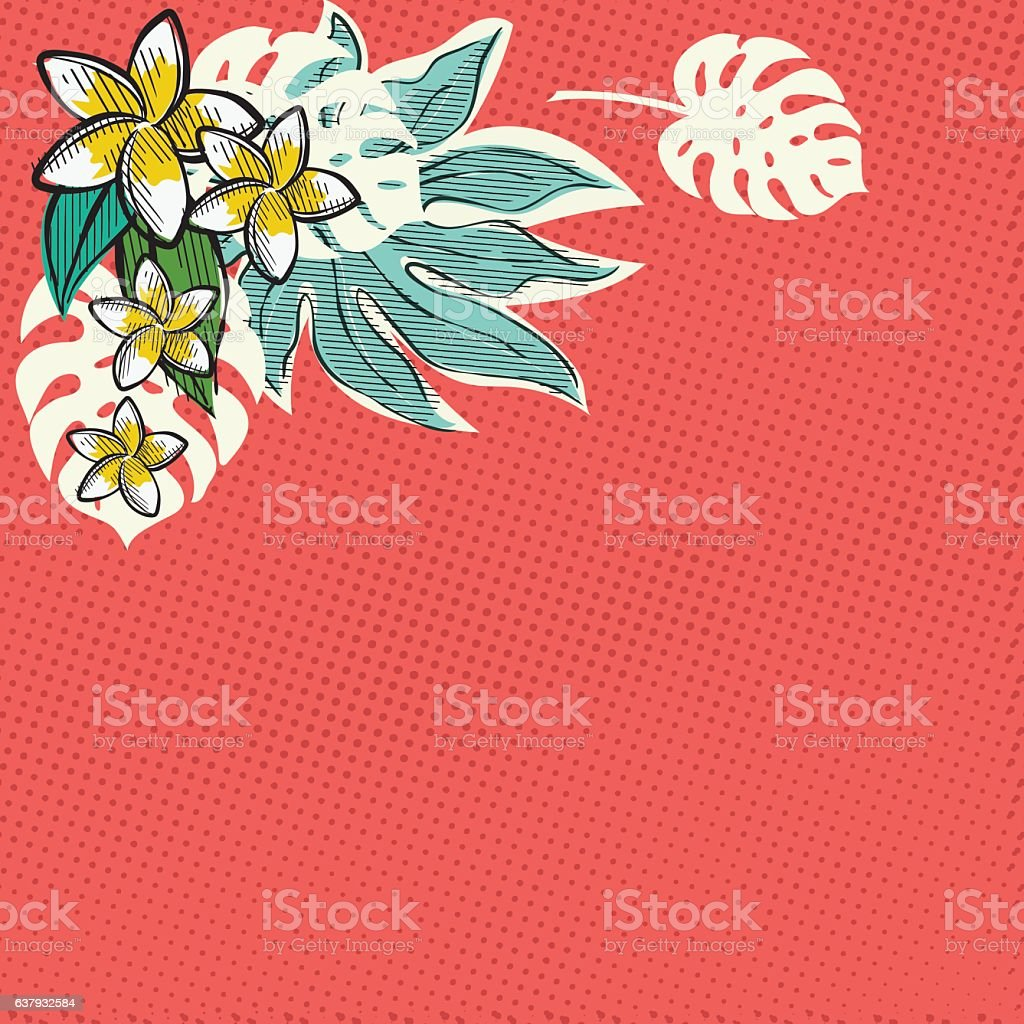 Retro Inspired Tropical Luau Flowers And Leaves vector art illustration